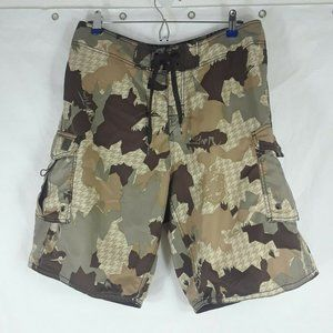 Quiksilver Board Shorts Camo Brown Lace Up Surf